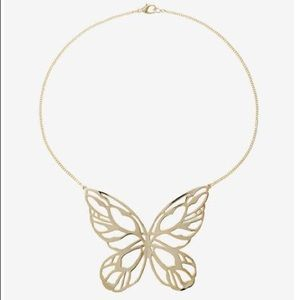 Express gold butterfly bib necklace